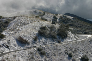Santa Barbara, California, under a rare snowfall