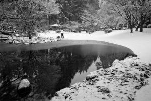 Nitobe Memorial Garden blanketed by snow